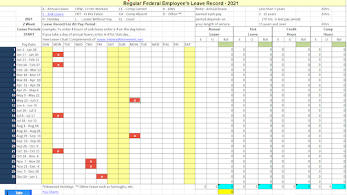 2021 Leave Chart Schedule Tracker Now Available Federal Employee S Retirement Planning Guide
