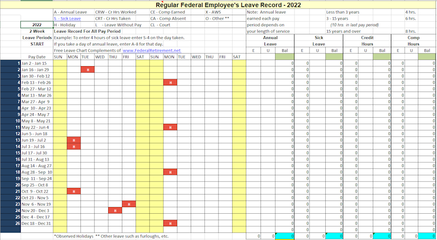 2022 Leave Chart & Schedule Tracker